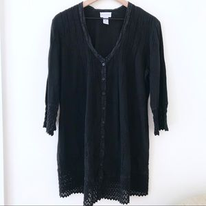 SOFT SURROUNDINGS Black Embroidered Button Tunic